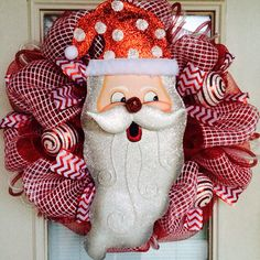 Santa Red and White Mesh Christmas Wreath by SouthernWreathDesign, $95.00