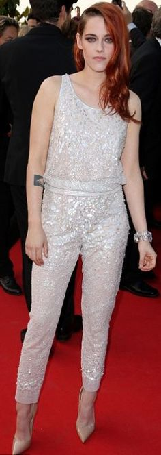 Who made  Kristen Stewart's white tank top and sequin pants that she wore in Cannes?