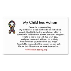 My Child has Autism cards. from Zazzle