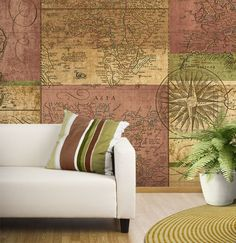 Navigate Tella Mural Sepia - Wall Sticker Outlet