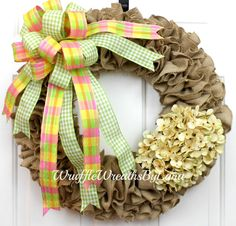 Burlap Spring Wreath, Burlap Wreath, Spring Wreath, Everyday Wreath, Hydrangea Wreath, Front Door Wreath by WruffleWreathsbyLana on Etsy