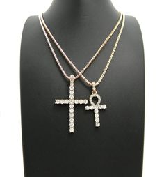 ANKH & CROSS PENDANT & BOX CHAINS ROSE GOLD HIP HOP NECKLACE SET