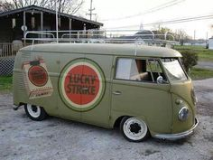 Army Green Lucky Strike Cigarette Volkswagen Barn Door Bus ☮ #VWBus ☮ pinned by www.wfpcc.com