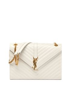 Saint Laurent Monogramme Matellase Shoulder Bag, White