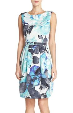 Eliza J Belted Floral Print Faille Sheath Dress available at #Nordstrom