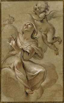 Attributed to Giacinto Brandi (Rome A female saint in glory, accompan. Figure Sketching, Figure Drawing, Rococo Painting, Madonna, Grisaille, Beautiful Drawings, Old Master, Renaissance Art, Art Design