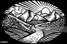 Vector Art : Oval shaped nature scene of mountains, hills and stream, black and white Clip Art Library, Scratchboard Art, Black And White Painting, Character Sketches, Linocut Prints, Nature Scenes, Art Images, Vector Art, Illustration