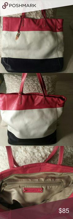 Selling this Cynthia Rowley white/pink/navy  leather tote on Poshmark! My username is: peoniespurses. #shopmycloset #poshmark #fashion #shopping #style #forsale #Cynthia Rowley #Handbags