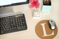 Make a unique mousepad with cork and craft paint.