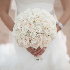 Bridal Bouquet - Pale pink and white rose in a round shape form. Such a gorgeous look! Wedding Flower Arrangements, Wedding Centerpieces, Wedding Bouquets, Bridesmaid Bouquets, Floral Arrangements, Wedding Dresses, Our Wedding, Dream Wedding, Wedding Stuff