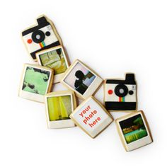 """Polaroid Cameras & Custom Edible Photos $32  Sugar cookies covered with fondant & edible paper - Send in 6 real photos & they will be printed on your cookies!  Cameras - 3.5""""x4""""  Photos - 3.25""""x3.75"""""""