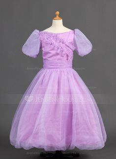 Ball Gown Floor-length Flower Girl Dress - Organza/Satin Short Sleeves Bateau With Ruffles Wedding Party Dresses, Bridesmaid Dresses, Satin Shorts, Satin Flowers, Special Occasion Dresses, Ruffles, Ball Gowns, Fashion Dresses, Flower Girl Dresses