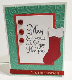 Christmas Card Handmade with Stocking and Bling