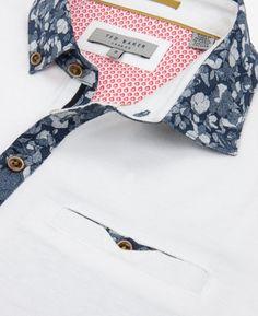 Floral print collar polo shirt