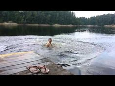 slippery dock. Janies tries to impress the girls with a nice dive. He didn't expect the dock would be slippery
