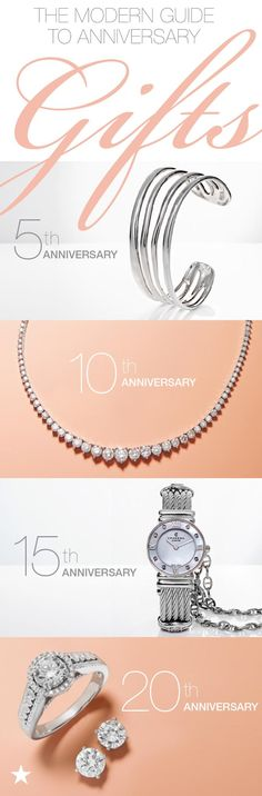 """On the hunt for the perfect milestone anniversary gift? This modern guide has you covered. If you're at 5 years, silverware is a common present—but we say, go for silver jewelry like this Nambé cuff. 10 years is all about diamond jewelry. For 15 years, you'll want to choose a stunning watch from a quality brand like Charriol. And if you're headed towards 20 years together, platinum is """"it!"""" Pick out a beautiful pair of earrings or a ring. To shop these gifts or get more ideas, visit…"""