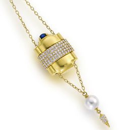 "An eighteen karat gold, diamond and gem-set ""Pill Box"" pendant necklace, Paul Morelli  designed as a trace-link chain mounted with a spherical slide and a double compartmented pill box slide accentuated by a cabochon sapphire, suspending a South Sea cultured pearl, measuring approximately 11.90mm., and a shaped terminal, slides and terminal highlighted with round brilliant-cut diamonds; signed Morelli; estimated total diamond weight: 6.50 carats"