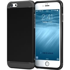 rooCASE Exec Tough Hybrid PC/TPU Case Cover for iPhone 6/6s 4.7 (£14) ❤ liked on Polyvore featuring bags, black, business, laptop sleeves and button bags