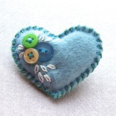 Little felt and button heart brooch - 'Something Blue' - FREE UK P&P £4.75