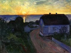 Edvard Munch (Norwegian; Expressionism, Symbolism, 1863–1944): Sunrise in Åsgårdstrand, 1893-1894. Oil on cardboard, 65 x 89 cm (25.6 x 35 inches). Private Collection. © The Munch-Ellingsen Group/Artists Rights Society (ARS). This artwork or photo is posted in accordance with fair use principles.  #IRequireArt @irequireart #art #EdvardMunch #Munch