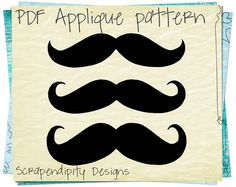 Mustache Applique Design - Mustache Applique Template / Mustache Shirt Design / Mustache Baby Clothing / Boy Quilt Pattern / Iron on AP99-D