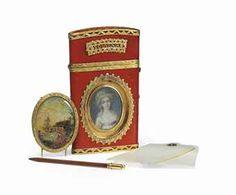 A LOUIS XVI GOLD-MOUNTED LACQUER ETUI-A-TABLETTES WITH SECRET PORTRAIT MINIATURE**  PARIS, 1772