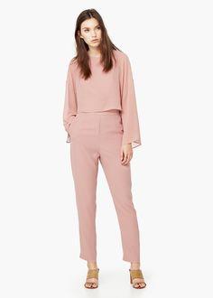 Combinaison fluide - Robes pour Femme | MANGO Combinaison rose poudrée qui irais bien avec superstar blanche a traits noir