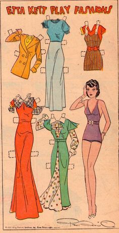 The Paper Collector: Etta Kett Play Fashions, May 1934 *** Paper dolls for Pinterest friends, 1500 free paper dolls at Arielle Gabriel's International Paper Doll Society, writer The Goddess of Mercy & The Dept of Miracles, publisher QuanYin5