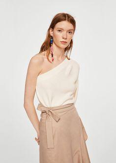 Mango Asimetric Cotton Sweater - S Asymmetrical Design, Asymmetrical Tops, Dance Dresses, Girls Dresses, Mango France, Casual Dresses, Formal Dresses, One Shoulder Tops, Pullover