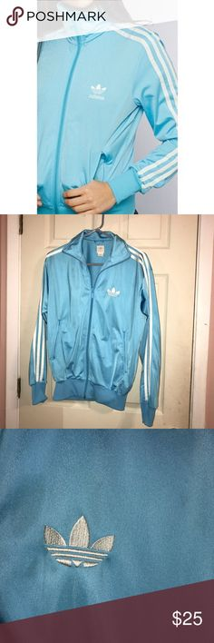 Blue Adidas Jacket baby blue, never worn out before, nice color. adidas Jackets & Coats