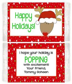 christmas holiday reindeer party popcorn wrappers favors custom personalized christmas popcorn class christmas gifts