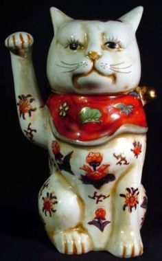 Vintage Japanese Kutani Maneki Neko Beckoning Cat IMPORTANT NOTES Please know that items purchased from us will be shipped direct from California. Your item will arrive much sooner and the shipping co Crazy Cat Lady, Crazy Cats, 9 Tails, Turning Japanese, Maneki Neko, Cat Doll, Greyhounds, How To Clean Carpet, Vintage Japanese