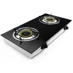 XtremepowerUS Deluxe Propane Gas Range Stove 2 Burner Tempered Glass Cooktop Auto Ignition -- Continue to the product at the image link. (This is an affiliate link) Propane Gas Stove, Portable Gas Stove, Camping Cooker, Camping Gas, Outdoor Stove, Indoor Outdoor, Stoves Cookers, Glass Cooktop, Outdoor Kitchen Design