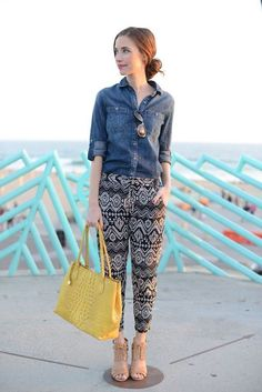 chambray shirt with printed pants make for a more structured outfit
