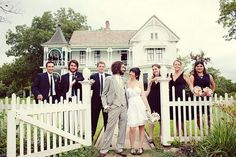 Mrs. Mouse and the Dude pose with their bridesmaids and groomsmen. Photo by The Nichols of Austin, TX.