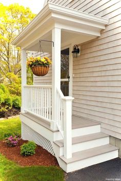 Beautiful Small Cottage House Exterior Ideas - Page 58 of 65 Porch Kits, Small Cottage Homes, Small Front Porches, Building A Porch, Side Porch, Side Door, Steps To Front Door, House With Porch, House Front