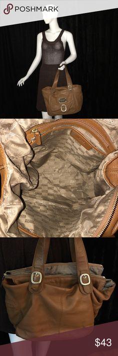 Michael Kors Handbag Carmel color leather handbag with gold hardware. Bag has darken some around the handles as a result of wearing. Michael Kors Bags