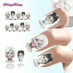 Audrey Hepburn Disegno di Arte Del Chiodo Punte Sexy Beauty Water Transfer Nail Sticker Nails Manicure Nail Wraps Decorazioni 13