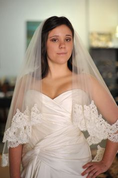 Lace wedding veil - 2 tier - Anna