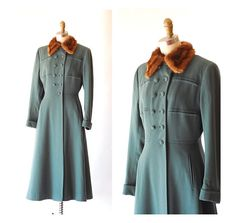 vintage 1940s Zelinka Matlick teal wool and fur princess coat / size xs small