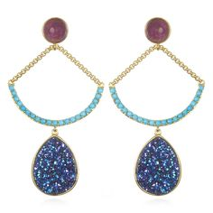 Blu Bijoux Gold and Colored Stone Bianca Chandelier Earrings ($28 ...