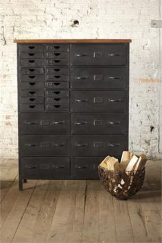 Industrial Furniture. Very cool. This would be perfect for my Arts& Crafts storage.