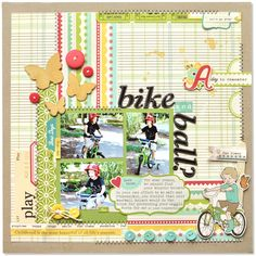 stitched patterned paper with block style photos on top by Amy via october afternoon