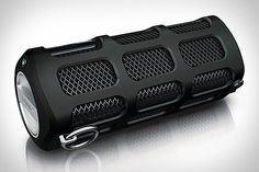 portable Bluetooth speakers few as rugged as the Philips Shoqbox ($180). This roughly tube-shaped speaker features two 4-watt neodymium speaker drivers, dual bass radiators, an eight-hour rechargeable lithium battery, Bluetooth for wireless audio streaming, a water resistant cover to protect the USB charging port and 3.5mm aux jack, a shock- and splash-proof design, and a built-in metal loop for clipping it to your bag or belt using a carabiner.