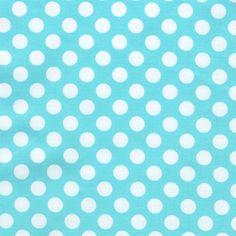 Ta Dot Polka Dots Dot Fabric White on Ocean Aqua Blue