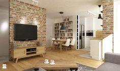 mieszkanie jasne w stylu nowoczesnym/skandynawskim 60m2 - Duży salon z bibiloteczką z kuchnią z jadalnią, styl skandynawski - zdjęcie od Grafika i Projekt architektura wnętrz
