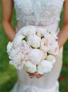 White peonies bridal bouquet, wedding flowers