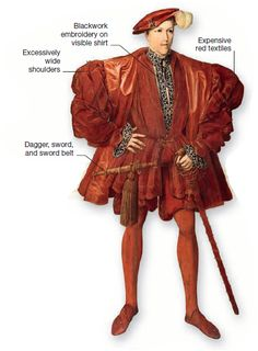 Excess and display. A Flemish man of the takes stylish width to extremes with his outer clothing wider than it is high. His skirted velvet jerkin covers the top of the breeches, and its wide front opening reveals a matching doublet. Middle Aged Man, Middle Ages, 16th Century Fashion, Renaissance Dresses, Doublet, Timeline, Velvet, Japanese, Costumes