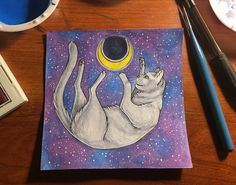 Cat and moon. Mixed media.