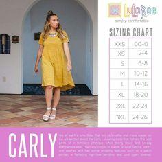 LuLaRoe Carly!  Sizing Chart   LuLaRoe Kate Penley https://www.facebook.com/LularoeKatePenley/